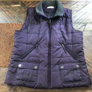 Coldwater Creek Purple Quilted Puffer Vest Sz Med